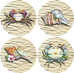 Thirstystone Stoneware Coaster Set, Tropicool Collection Revisited