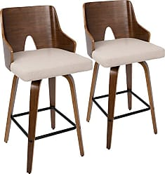 LumiSource Ariana 26 in. Keyhole Counter Stool - Set of 2 Beige - B26-ARIAX WLBG2