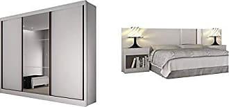 Novo Horizonte Quarto de Casal Completo MadeiraMadeira com Guarda Roupa 3 Portas 6 Gavetas e Cabeceira com 2 Criados Mudos 400822 Branco
