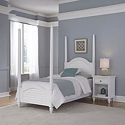 Home Styles Bermuda Twin White Poster Bed and Night Stand by Home Styles