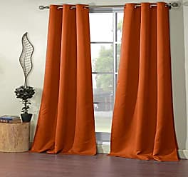 Duck River Textile Steyna Solid Faux Silk Textured Blackout Room Darkening Grommet Top Window Curtains Pair Panel Drapes for Bedroom, Living Room - Set of 2 Panels - 38 X 84 Inch - Orange