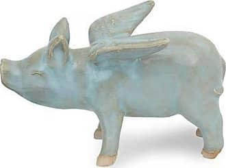 Novica Celadon ceramic figurine, Flying Blue Pig