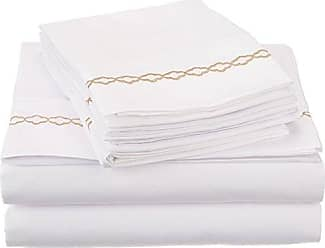 Superior Super Soft Light Weight, 100% Brushed Microfiber, Twin XL, Wrinkle Resistant, 4-Piece Sheet Set, White with Gold Cloud Embroidery in Gift Box