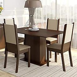 Madesa Conjunto Sala de Jantar Mesa e 4 Cadeiras Rita Madesa Tabaco/Crema/Pérola