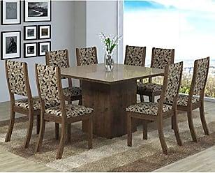 Viero Conjunto Sala de Jantar Mesa 8 Cadeiras Isabela Viero Grigio/Medina/Vidro Bronze