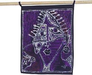 Novica Batik cotton wall hanging, Purple Oju Orisha