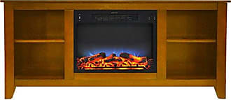 Cambridge Silversmiths CAM6226-1TEKLED Santa Monica 63 In. Electric Fireplace & Entertainment Stand in Teak w/ Multi-Color LED Insert