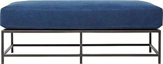 Stephen Kenn Indigo Canvas And Blackened Steel Bench