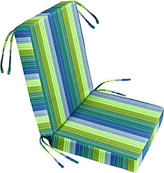 Cushion Source 22 in. Striped Sunbrella Chair Seat and Back Cushion Set Foster Surfside - IFA38-56049