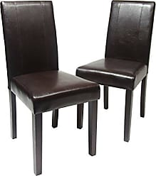 Round Hill Furniture Urban Style Solid Wood Leatherette Padded Parson Chair, Brown, Set of 2