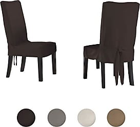 Serta | Relaxed Fit Smooth Suede Furniture Slipcover for Dining Room Chair, Short Skirt (Chocolate)