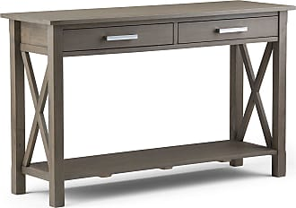 Simpli Home Kitchener Solid Wood Console Sofa Table in Farmhouse Grey