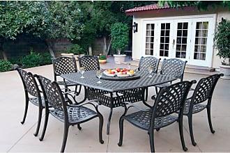 DARLEE Outdoor Darlee Nassau 10 Piece Aluminum Square Patio Dining Set with Lazy Susan - DL13-10PC-30W3930
