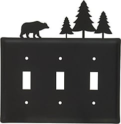 Village Wrought Iron 8 Inch Bear and Pine Triple Switch Cover