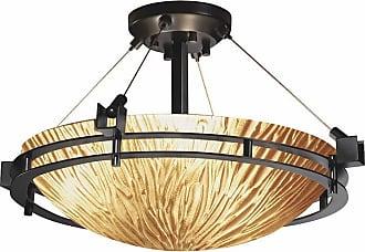 Justice Design Veneto Luce - Metropolis 22 in. Semi-Flush Bowl - Round Shade - Amber - GLA-8111-35-AMBR-NCKL-LED3-3000