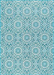 Tayse Universal Rugs Chesterfield Transitional Geometric Teal Non-Skid Rectangle Area Rug, 6.7 x 10