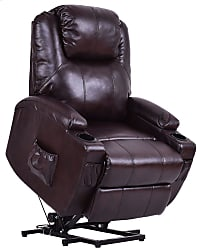 Overstock Costway Electric Power Lift Chair Recliner PU Leather Padded Seat w/ Remote & Cup Holder