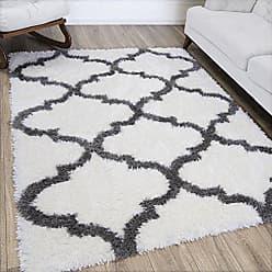Ottomanson FFR2001-3X5 Flokati Trellis Design Shag Runner Rug, 27 x 5, White