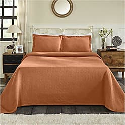 Home City Inc. Superior 100% Cotton Basket Weave Bedspread with Sham, All-Season Premium Cotton Matelassé Jacquard Bedding, Quilted-look Geometric Basket Pattern - Twin, Mandarin