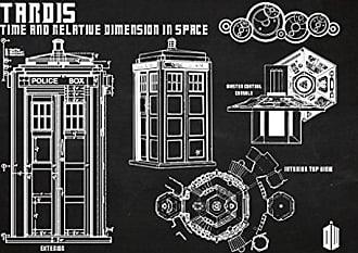 Inked and Screened Doctor Who - Tardis Print, 11 x 17, Chalkboard - White Ink