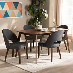 Baxton Studio Wesley Mid-Century Modern Fabric Upholstered 5 Piece Dining Set Light Gray - WESLEY-LIGHT GREY-5PC DINING SET