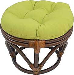 Blazing Needles Solid Twill Round Footstool Cushion, 18, Mojito Lime