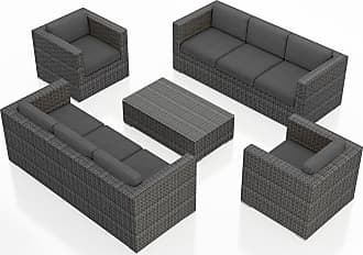 Harmonia Living Outdoor Harmonia Living District 5 Piece Double Sofa Patio Conversation Set Natural / White - HL-DIS-TS-5S2S-CN