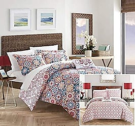 Chic Home Angel 4 Piece Reversible Quilt Cover Set 100% Cotton Bohemian Geometric Print, Queen Pink