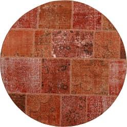 Nain Trading Handknotted Patchwork Rug 411x50 Round Brown/Orange (Wool, Iran/Persia)