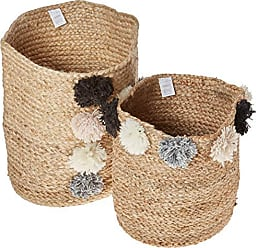 Creative Co-op Beige Jute Braided Baskets with Grey, Black, White & Pink Pom Poms (Set of 2 Sizes)