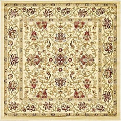 Unique Loom Voyage Collection Traditional Oriental Classic Cream Square Rug (4 x 4)