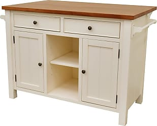 222 Fifth Atlantic 2 Drawer Kitchen Island with Overhang White - 7115WH755B1R56