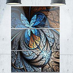 DESIGN ART Designart MT8714-3PV Blue Brown Fractal Flower Pattern Floral Digital Metal Wall Art (3 Panels), 28 H x 36 W x 1 D 3P