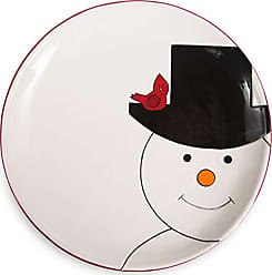 Pavilion Gift Company 81548 Pavilion-Christmas Top Hat with A Cardinal-Red & White 10.5 Inch Dol Snowman Plate 10.50 Multicolored