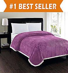 Elegant Comfort Best, Softest, Luxury Micro-Sherpa Blanket on Amazon! Heavy Weight Stripe Design Ultra Plush Blanket, Full/Queen, Lavender