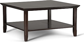 Simpli Home Acadian Solid Wood Square Coffee Table in Tobacco Brown
