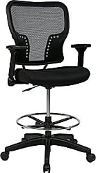 Office Star SPACE Seating Deluxe AirGrid Back and Padded Mesh Seat, Pneumatic Seat Height Adjustment and 4-Way Adjustable Flip Arms Managers Chair, Black