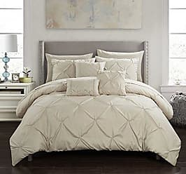 Chic Home Hannah 10 Piece Comforter Complete Bag Pinch Pleated Ruffled Pintuck Bedding with Sheet Set and Decorative Pillows Shams Included, King, Taupe