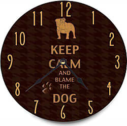 The Stupell Home Décor Collection Stupell Home Décor Keep Calm And Blame The Dog Decorative Vanity Wall Clock, 12 x 0.4 x 12, Proudly Made in USA