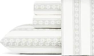 Revman International Eddie Bauer Snowflake Fair Isle Flannel Sheet Set, Twin, Grey