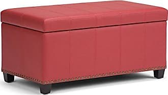 Simpli Home Simpli Home AXCOT-257-RD Amelia 34 inch Wide Traditional Storage Ottoman in Crimson Red Faux Leather