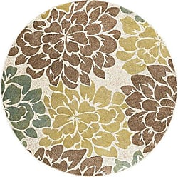 Tayse Molly Transitional Floral Ivory Round Area Rug, 8 Round