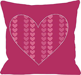 One Bella Casa Repeating Heart Throw Pillow by OBC, 18x 18, Red/Tan/Pink