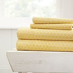 iEnjoy Home Becky Cameron Printed Honeycomb Patterned Quality 4 Piece Sheet Set, Full, Yellow