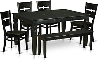 East West Furniture WERO6D-BLK-W 6 Piece Small Kitchen Table and 4 Chairs Coupled with A Bench Set