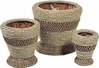 Benzara BM164867 Designer Woven Patterned Basket, Set of Three, Beige