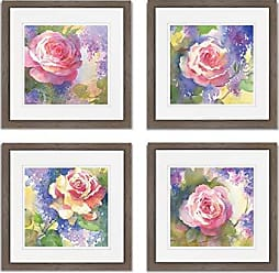 WEXFORD HOME Margots Rose Spring Collection Flower Print 4 Panels Set Framed Décor for Home Office Wall Art 15X15 Burly Wood