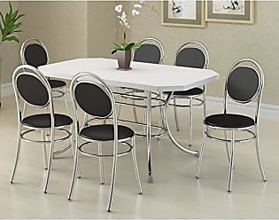 Siena Móveis Conjunto de Mesa Retangular e 6 Cadeiras Siena Móveis Cromado/Branco/Preto