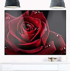 DESIGN ART Designart Red Rose with Raindrops on Black Flowers Glossy Metal Wall Art-28x12, 12 H x 28 W x 1 D 1P
