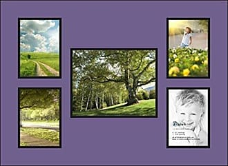 Art to Frames Double-Multimat-1274-849/89-FRBW26079 Collage Photo Frame Double Mat with 1-8x10 and 4-5x7 Openings and Satin Black Frame